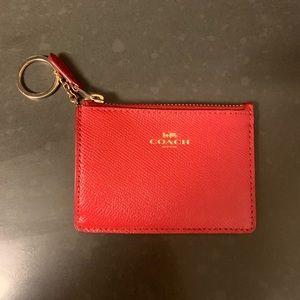 Red Coach Mini Skinny ID Case